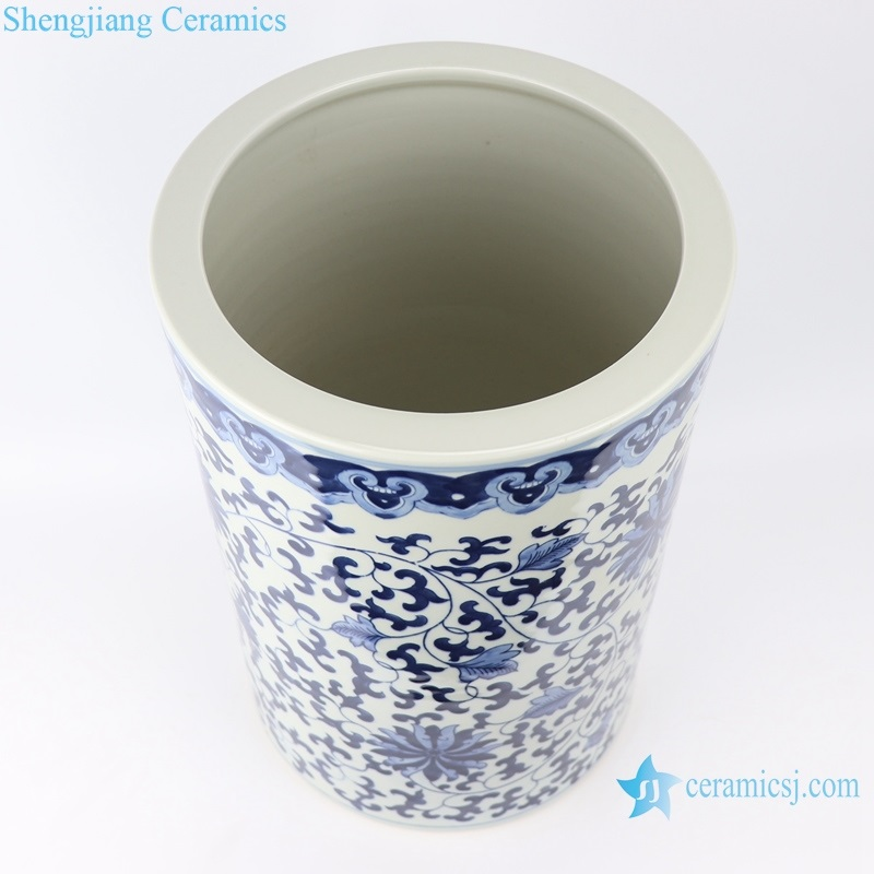 Archaize hand-painted blue and white ceramic top view