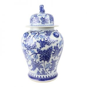 RZKY23 Archaized hand painted blue and white grape grain lion dog head general pot