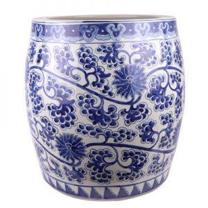 RZKY25 Antique hand-painted porcelain bound lotus flower into grape grain drum vats