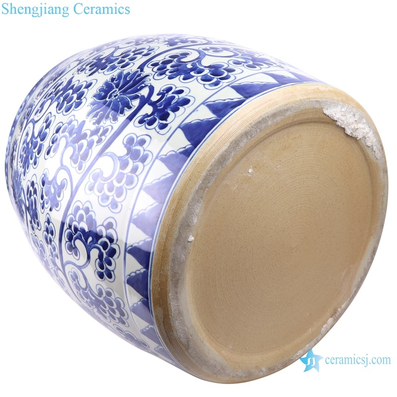 hand-painted lotus drum - shaped cylinder