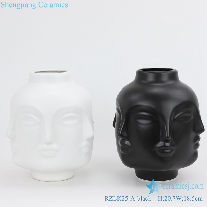 black and white combination of ceramic face vases