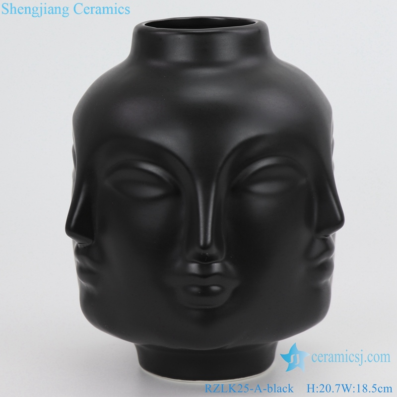 matte black porcelain vase with six faces