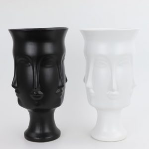RZLK25-B Nordic Muse matte combination of black and white ceramic face vases elegant DORA