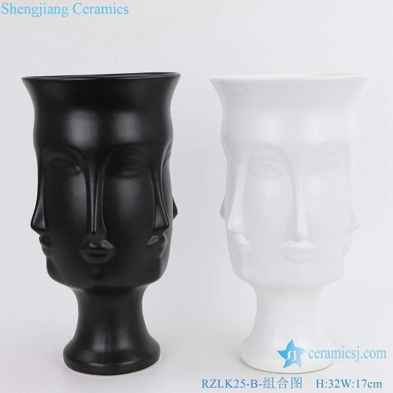 Nordic Muse matte ceramic face vases front view