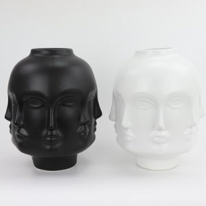 RZLK25-E Nordic Muse matte black and white porcelain combination vase with eight faces sad DORA