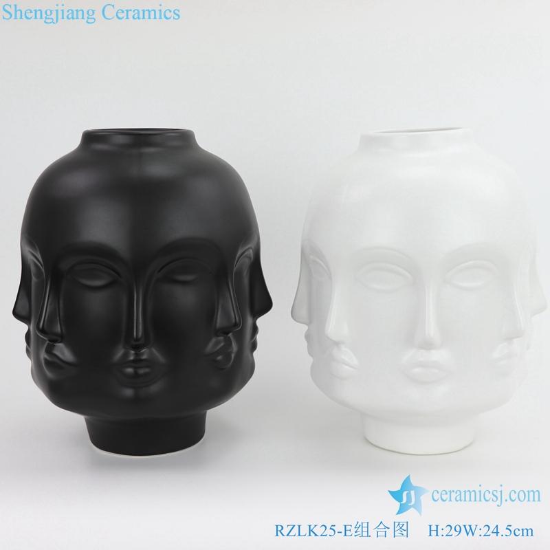black and white porcelain combination vase