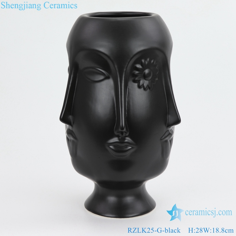 porcelain vase with six faces saucy edie front view
