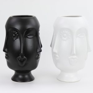 RZLK25-GScandinavian Muse matte black and white porcelain vase with six faces saucy edie