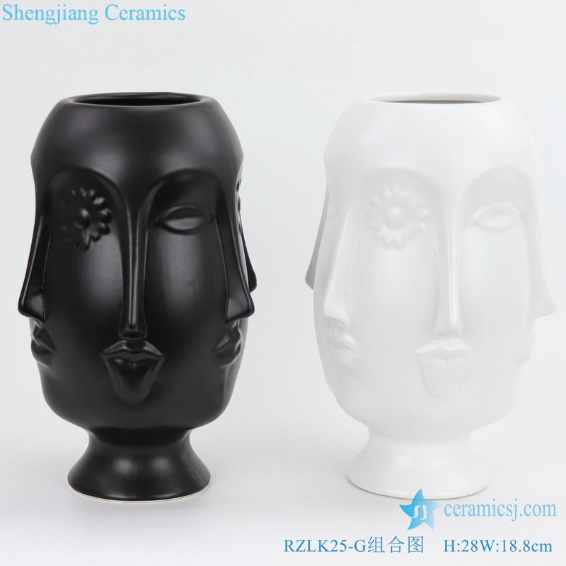 chinese matte black and white porcelain vase
