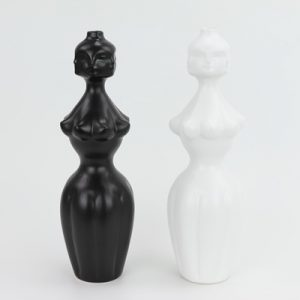 RZLK25-H Nordic Muse matte black and white combination ceramic face vases voluminous edie