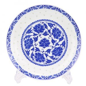 RZLL11 Traditional blue-and-white porcelain linglong peony grain ten inch plate deep dish daily use