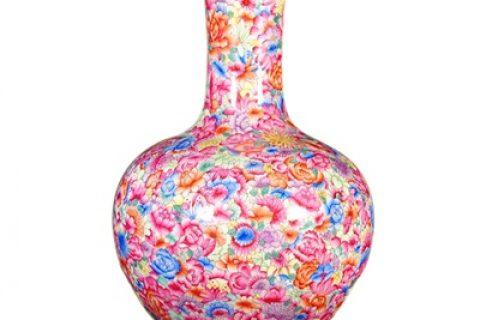 RZLS04 Jingdezhen antique hand-painted powder enamel vase colored enamel