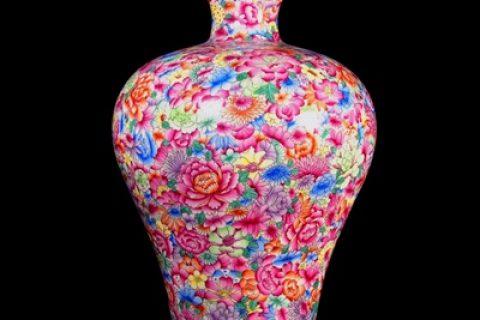 RZLS09 Jingdezhen enamel porcelain hand-painted pastel flower vase with plum flowers