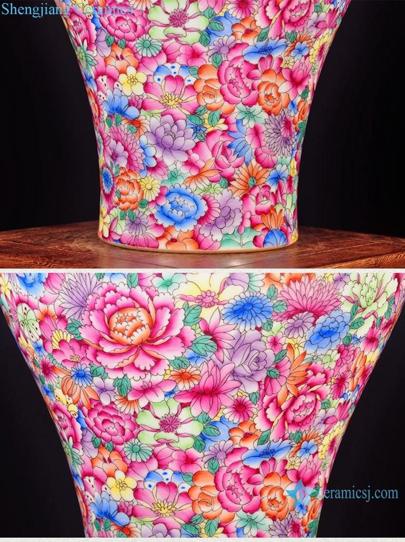 Shengjiang hand-painted powder enamel vase details