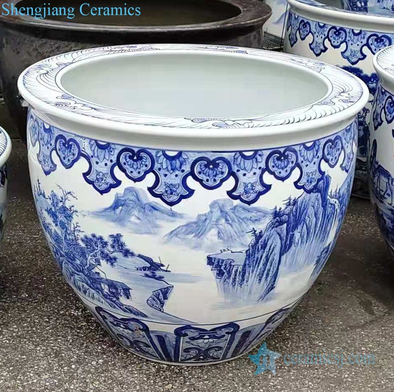 blue and white ceramic tank decoration small