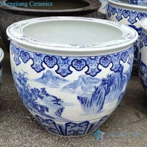 RZMJ02-A Jingdezhen traditional blue and white ceramic water tank lotus tank aquarium plant tank decoration