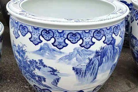 RZMJ02-A Jingdezhen traditional blue and white ceramic water tank lotus tank aquarium plant tank decoration