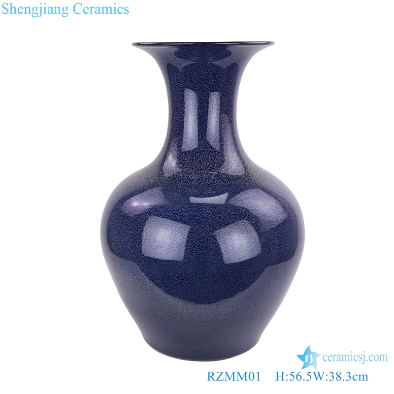 Large blue vase with starry sky glaze front view