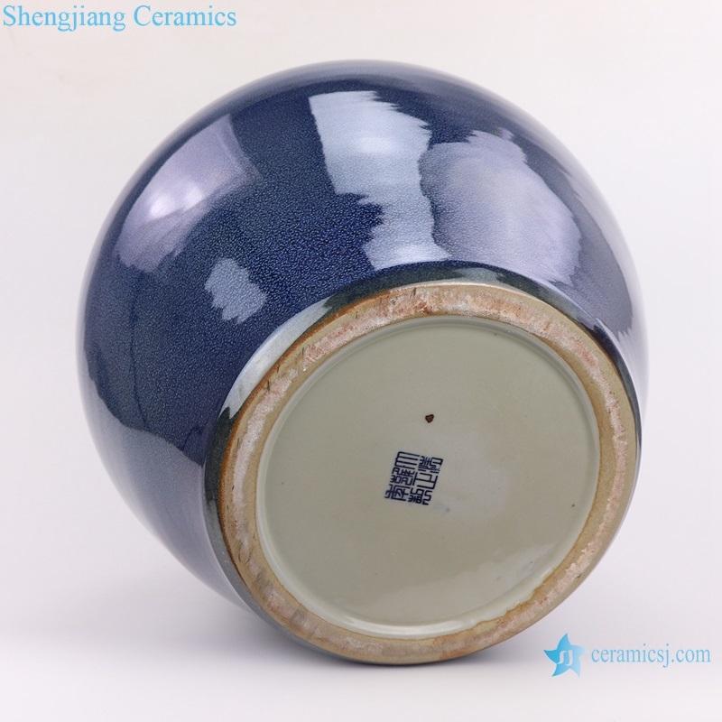 Jingdezhen large vase with colored glaze bottom