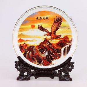 RZMP08 Twelve - inch bone porcelain painted gold edge exhibition dapeng spread its wings picture plate