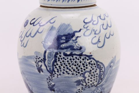 RZMV36 Jingdezhen antique porcelain in the republic of China blue and white all handmade old jar pu 'er tea pot antique antique collection