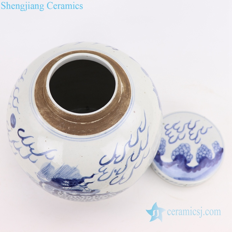 blue and white tea pot top view