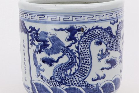 RZMV37 Jingdezhen qing dynasty people kiln blue and white double dragon grain three-foot incense burner antique collection porcelain antique antique do old decorations
