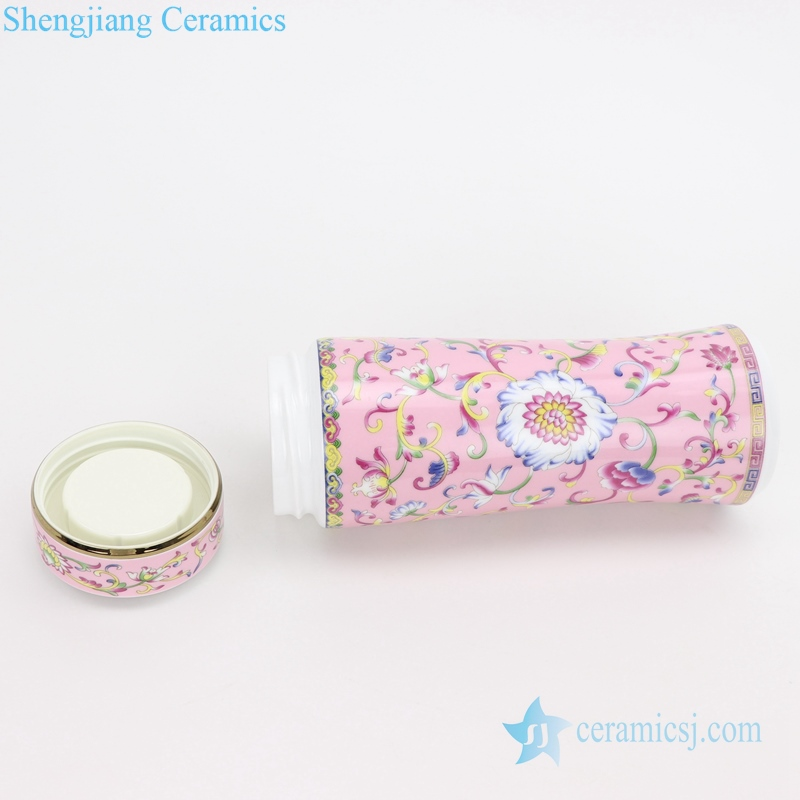 chinese ceramic cup powder enamel side view