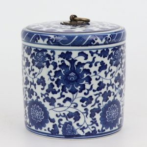RZNV05-B Traditional Blue and white lotus pattern with copper ring lid round straight tube tea pot small