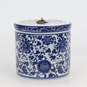 RZNV05-C-BIG Traditional blue and white lotus pattern with a copper ring lid round straight tube tea can of large size