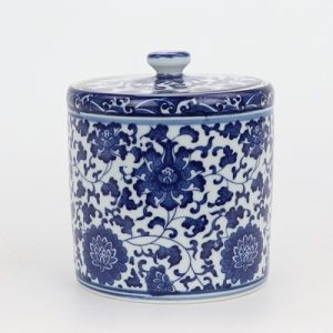RZNV06-B-mid Jingdezhen beautiful traditional blue and white tangzhi lotus pattern with cover round straight tube tea pot
