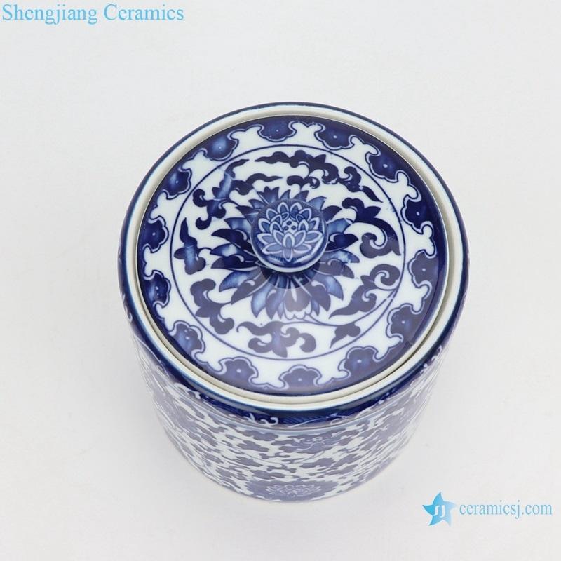 blue and white tangzhi tea pot top view