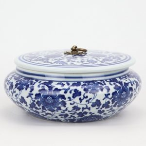 RZNV07 Tea canisters traditional blue and white wrapped lotus pattern with copper ring lid round flat belly