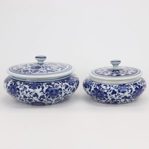 RZNV08-a-b Jingdezhen tea pot small blue and white wrapped branches lotus pattern band cover round flat belly