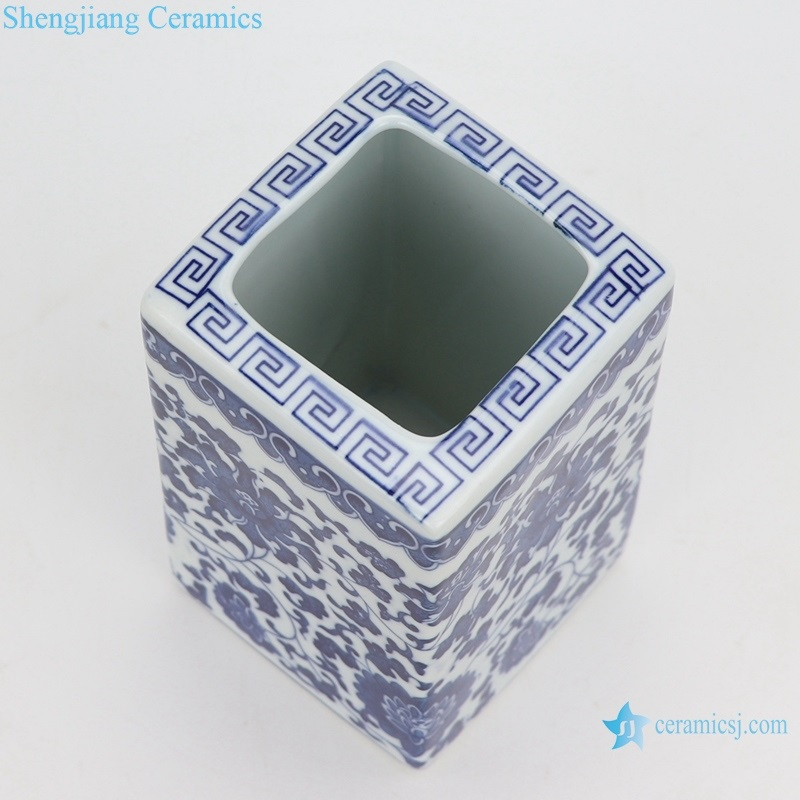 lotus pattern square straight tube pen vase ceramic
