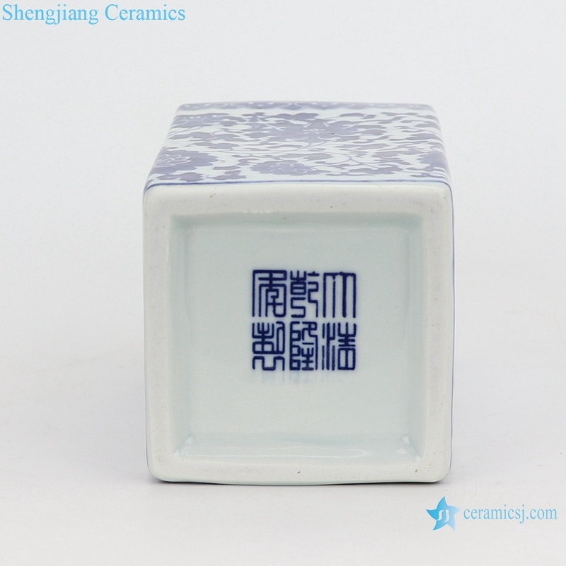 blue and white square mouth small pen vase