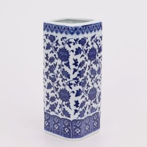 RZNV11 Chinese porcelain blue and white lotus pattern square straight tube white ruyi mouth pen tube vase