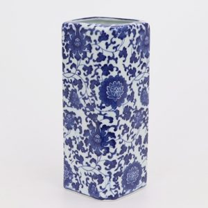 RZNV12 Blue and white entangling lotus pattern square straight tube blue and white ruyi mouth pen tube floret vase ceramics