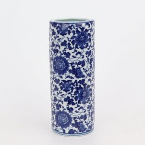 RZNV13 Blue and white lotus pattern round straight tube blue and white pen tube small vase traditional ceramics