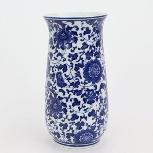 RZNV15 Blue and white wreathed lotus pattern round tube blue and white open arc pen tube small vase ceramic decoration