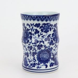 RZNV16Blue and white lotus pattern round tube blue and white open bamboo-shaped pen tube small vase traditional porcelain