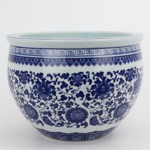 RZNV17-A Beautiful jingdezhen blue and white flower tangzhi lotus pattern round small tank traditional porcelain