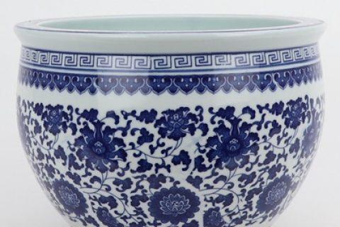 RZNV17-A Beautiful jingdezhen blue and white flower tangzhi lotus pattern round small tank traditional porcelain
