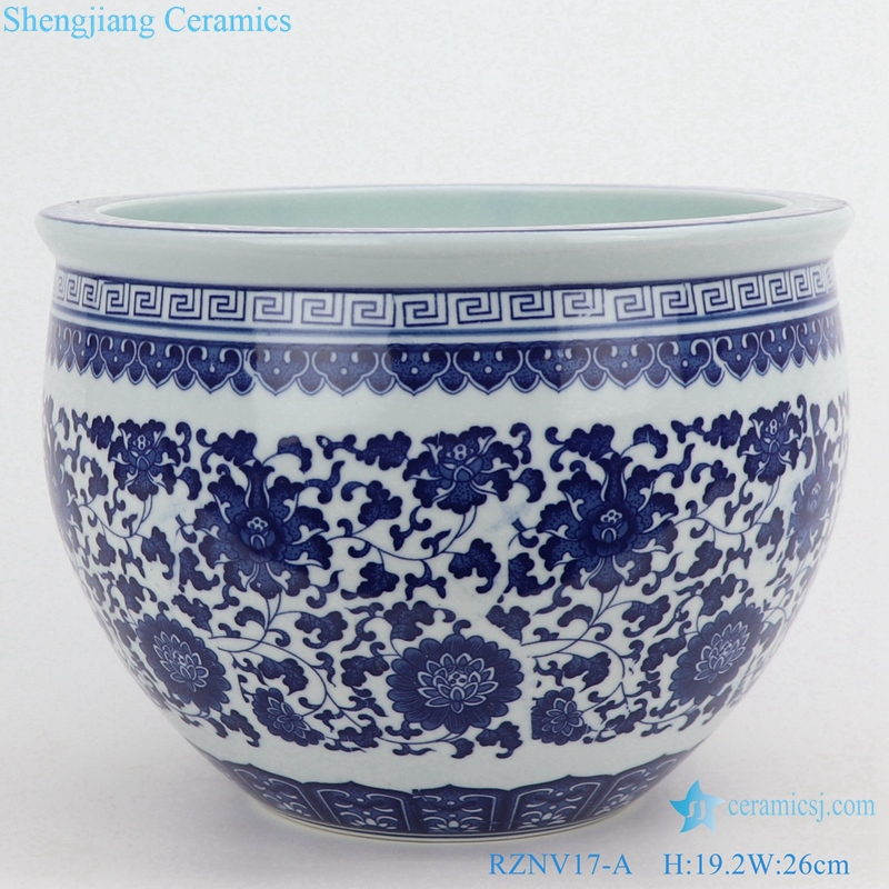 blue and white flower tangzhi tank traditional porcelain