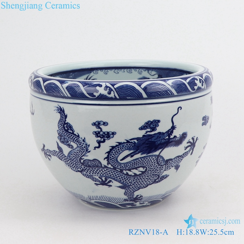 RZNV18-A Blue and white cloud dragon pattern double dragon play bead figure circular small tank dragon bead tank