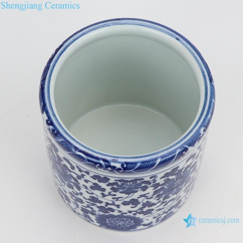 blue and white lotus pattern round pen holder mini size