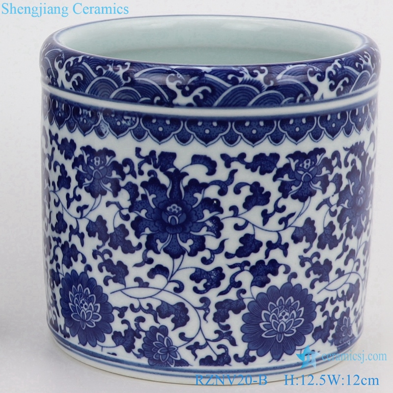 ceramic traditional blue and white pen barrel small