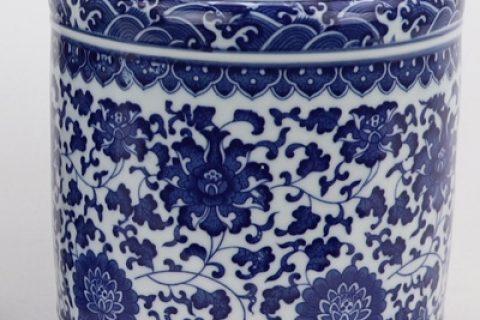 RZNV20-B Elegant ceramic traditional blue and white lotus pattern round pen holder small