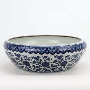 RZNV21 Jingdezhen porcelain blue and white entangling branch lotus grain round wash water shallow