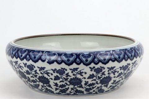 RZNV21 Jingdezhen porcelain blue and white entangling branch lotus grain round wash water shallow